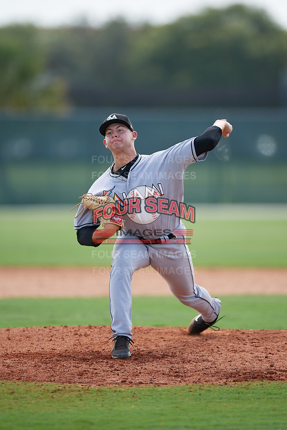 GCL Marlins relief pitcher Dylan Cyphert (36) delivers a pitch during the first game of a doubleheader against the GCL Nationals on July 23, 2017 at Roger Dean Stadium Complex in Jupiter, Florida.  GCL Nationals defeated the GCL Marlins 4-0.  (Mike Janes/Four Seam Images)