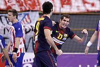 FC Barcelona Intersport's Angel Montoro celebrates goal during ASOBAL League match.December 08 ,2012. (ALTERPHOTOS/Acero) /NortePhoto