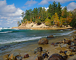 Pictured Rocks National Lakeshore, MI<br /> Wet rocks and boulders on the shore of Lake Superior near the Mosquito River
