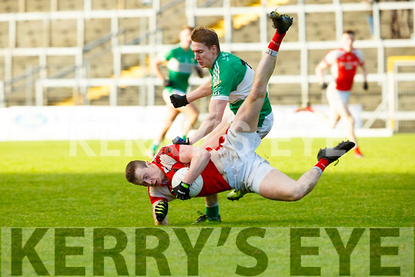 Shane Ryan Rathmore goes flying after the tackle of Danny Sheahan  Legion during the East Kerry final on Sunday