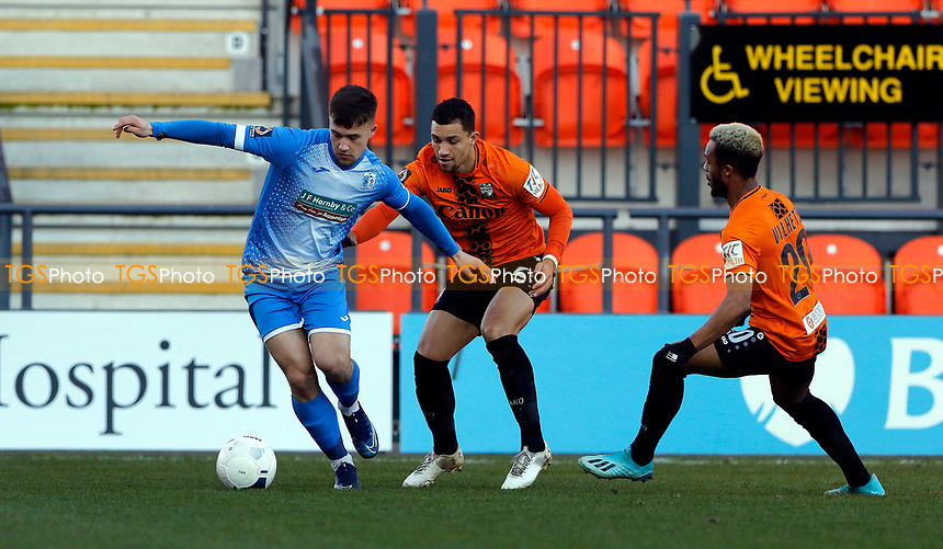 Oliver Dyson (L) in action for Barrow during Barnet vs Barrow, Buildbase FA Trophy Football at the Hive Stadium on 8th February 2020