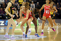 03.09.2017 England's Helen Housby and South Africa's Bongiwe Msomi in action during the Quad Series netball match between England and South Africa at the ILT Stadium Southland in Invercargill. Mandatory Photo Credit ©Michael Bradley.