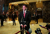 Speaker of the United States House of Representatives Paul Ryan (Republican of Wisconsin) speaks with the press after meetings with US President-elect Donald Trump, in the lobby of the Trump Tower, New York, New York, December 9, 2016.<br /> Credit: Aude Guerrucci / Pool via CNP