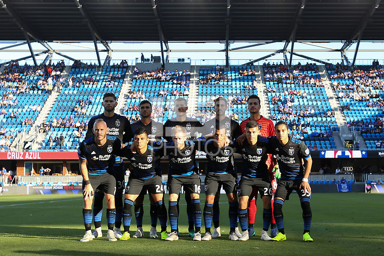 San Jose, CA - Saturday October 13, 2018: San Jose Earthquakes Starting Eleven during a friendly match between the San Jose Earthquakes and Cruz Azul at Avaya Stadium.