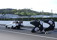 Feb 11, 2017; Pomona, CA, USA; NHRA funny car driver Jeff Arend during qualifying for the Winternationals at Auto Club Raceway at Pomona. Mandatory Credit: Mark J. Rebilas-USA TODAY Sports