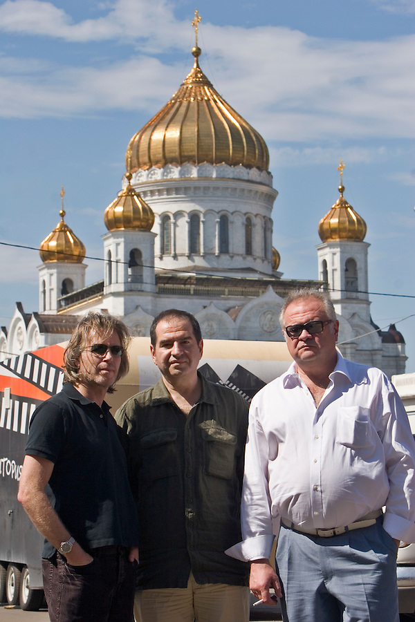 "Moscow, Russia, 19/07/2007..Producers Sergei Konov, Leonid Minkovski and Stephen Nemeth on the set of the new Roland Joffe film ""Searching For t.A.T.u."""