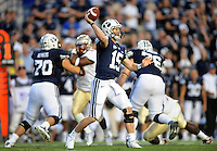 Sept. 19, 2009; Provo, UT, USA; BYU Cougars quarterback (15) Max Hall throws a pass in the third quarter against the Florida State Seminoles at LaVell Edwards Stadium. Florida State defeated BYU 54-28. Mandatory Credit: Mark J. Rebilas-