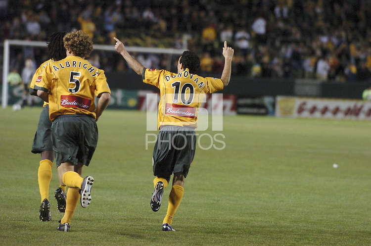 Los Angeles Galaxy's Landon Donovan celebrates after scoring against  Real Salt Lake, at the Home Depot Center, in Carson, California, Saturday April 9, 2005.