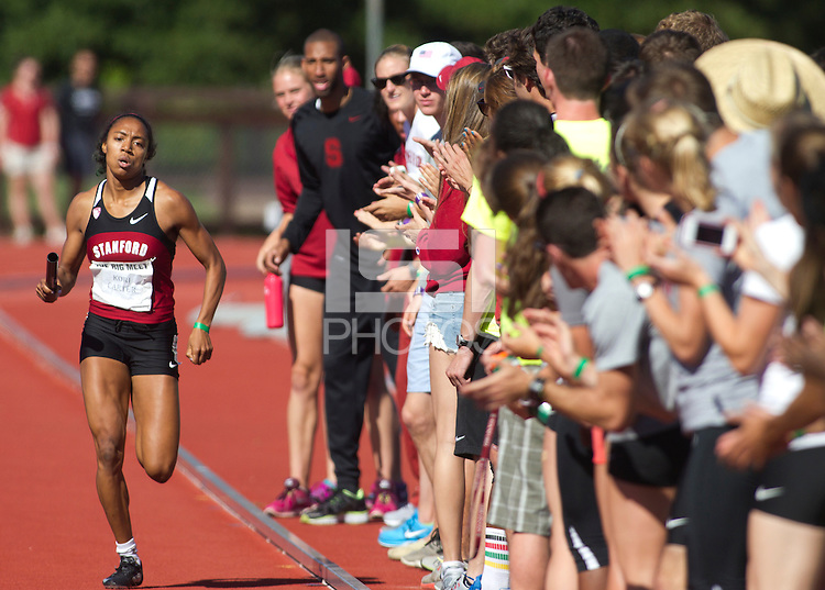 Stanford, CA., April 20, 2013,--Stanford's Kori Carter runs in the 119 Big Meet at Cobb Track and Angell Field at Stanford University.