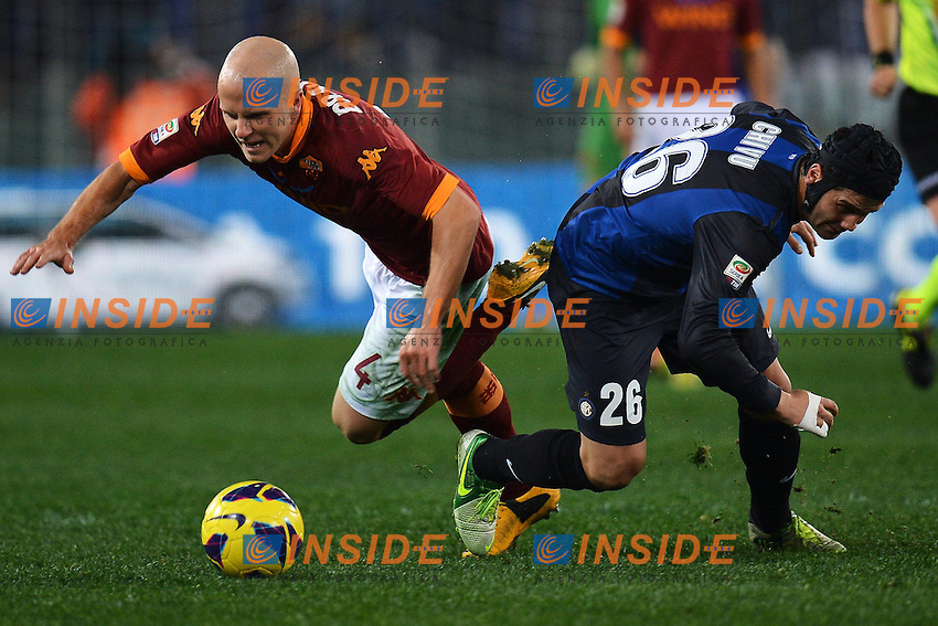 Michael Bradley Roma, Cristian Chivu Inter .Roma 20/01/2013 Stadio Olimpico.Football Calcio 2012/2013 Serie A.Roma Vs Inter 1-1.Foto Andrea Staccioli Insidefoto