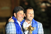 Winning European Team Captain Jose Maria Olazabal and Sergio Garcia (ESP) after Sunday's Singles Matches of the 39th Ryder Cup at Medinah Country Club, Chicago, Illinois 30th September 2012 (Photo Colum Watts/www.golffile.ie)