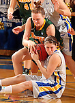 BROOKINGS, SD - FEBRUARY 22:  Tara Heiser #12 from South Dakota State University is tied up over a loose ball with Liz Keena #21 from North Dakota State University in the first half of their game Saturday afternoon at Frost Arena in Brookings.  (Photo by Dave Eggen/Inertia)