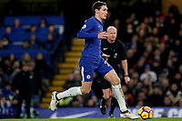 Andreas Christensen of Chelsea races upfield during Chelsea vs West Bromwich Albion, Premier League Football at Stamford Bridge on 12th February 2018