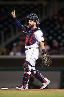 Mesa Solar Sox catcher Eric Haase (10), of the Cleveland Indians organization, during a game against the Salt River Rafters on October 22, 2016 at Sloan Park in Mesa, Arizona.  Salt River defeated Mesa 7-2.  (Mike Janes/Four Seam Images)