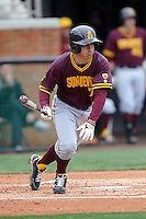 Arizona State Sun Devils second baseman James McDonald #7 runs to first during a game against  the Tennessee Volunteers at Lindsey Nelson Stadium on February 23, 2013 in Knoxville, Tennessee. The Volunteers won 11-2.(Tony Farlow/Four Seam Images).