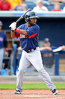 Boston Red Sox outfielder Matty Johnson #90 during a Grapefruit League Spring Training game against the Tampa Bay Rays at Charlotte County Sports Park on February 25, 2013 in Port Charlotte, Florida.  Tampa Bay defeated Boston 6-3.  (Mike Janes/Four Seam Images)