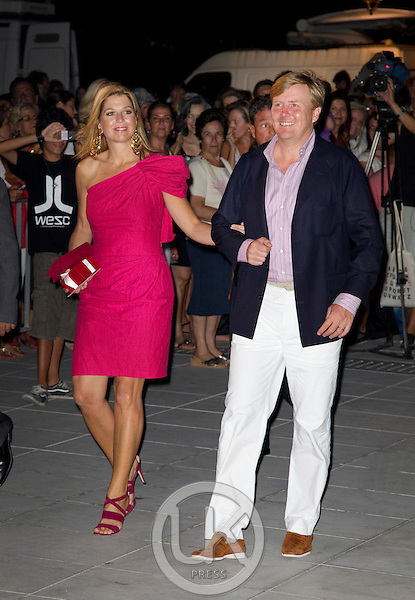 Crown Princess Maxima, and Crown Prince Willem Alexander of Holland attend a Cocktail Party at The Poseidonion Hotel, in Spetses, Greece, on the eve of the Wedding of Prince Nikolaos of Greece to Tatiana Blatnik.