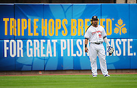 Jun. 23, 2009; Albuquerque, NM, USA; Albuquerque Isotopes outfielder Manny Ramirez in the outfield against the Nashville Sounds at Isotopes Stadium. Ramirez is playing in the minor leagues while suspended for violating major league baseballs drug policy. Mandatory Credit: Mark J. Rebilas-