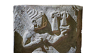 Hittite orthostat relief depicting a god. Hittie Period 1450 - 1200 BC. Hattusa Boğazkale. Çorum Archaeological Museum, Corum, Turkey. Çorum Archaeological Museum, Corum, Turkey. Against a white bacground.
