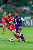 4th November 2017, nib Stadium, Perth, Australia; A-League football, Perth Glory versus Adelaide United; Diego Castro of Perth Glory and Nikola Mileusnic of Adelaide United