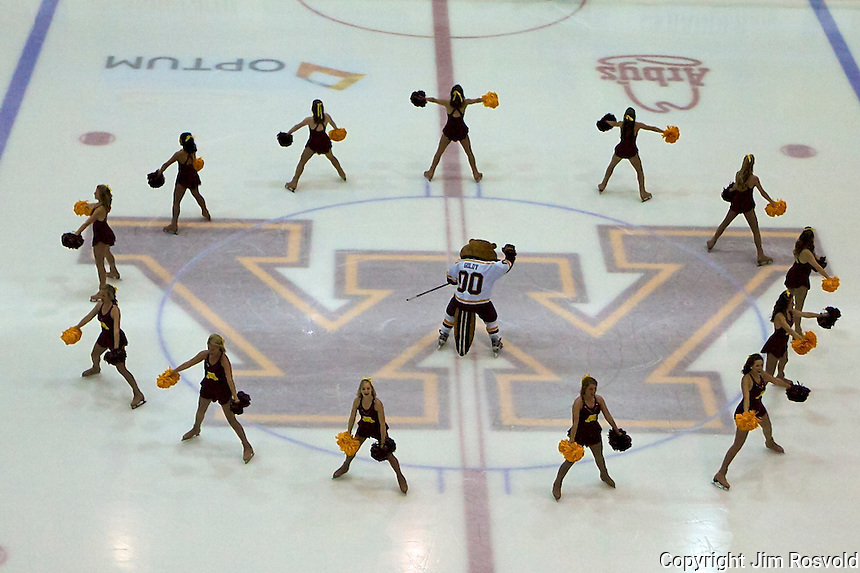 21 Oct 11: Minnesota Cheerleaders. The University of Minnesota Golden Gophers host the University of Vermont Catamounts in a non-conference matchup at Mariucci Arena in Minneapolis, MN.