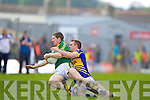Kieran O'Leary, Kerry in action against \t0\ in the first round of the Munster Football Championship at Fitzgerald Stadium on Sunday.