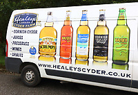 Healey's Cornish Cyder Farm is an independent family run business in Penhallow near Truro, Cornwall. It brews and sells its own cyder, brandy, whisky, country fruit wines and apple juice, all produced on site. It's main cyder brand is Rattler which is available in both cloudy and pear varieties. In addition, the farm produces traditional scrumpy cyder, reserve and classic cyder. August 13th 2019<br /> <br /> Photo by Keith Mayhew