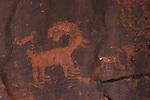 Bighorn sheep petroglyph in Petroglyph Canyon