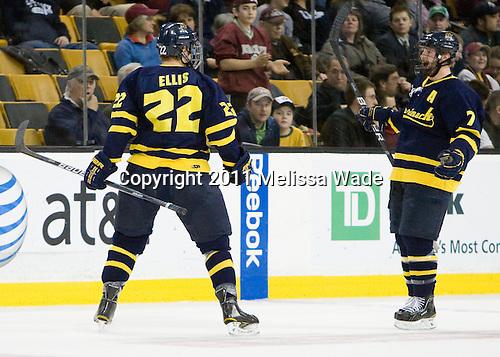 Brendan Ellis (Merrimack - 22), Karl Stollery (Merrimack - 7) - The Merrimack College Warriors defeated the University of New Hampshire Wildcats 4-1 (EN) in their Hockey East Semi-Final on Friday, March 18, 2011, at TD Garden in Boston, Massachusetts.