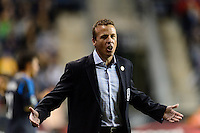 Philadelphia Union manager John Hackworth. The Houston Dynamo defeated the Philadelphia Union 1-0 during a Major League Soccer (MLS) match at PPL Park in Chester, PA, on September 14, 2013.