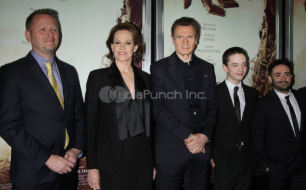 NEW YORK, NY December 067: Patrick Ness, Sigourney Weaver, Liam Neeson, Lewis MacDougall, J.A. Bayon| at Focus Features present New York  Premiere of A Monster Calls  at the AMC Loews Lincoln Square in New York .December 07, 2016. Credit:RW/MediaPunch