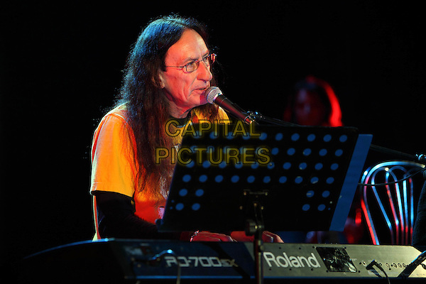 Ken Hensley.Concert in Moscow.April 8th, 2011.on stage in concert live gig performance performing music half length black yellow top glasses singing keyboard  .CAP/PER/SB.©SB/PersonaStars/CapitalPictures