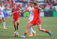 Portland, OR - Wednesday June 28, 2017: Alexa Newfield, Emily Menges during a regular season National Women's Soccer League (NWSL) match between the Portland Thorns FC and FC Kansas City at Providence Park.