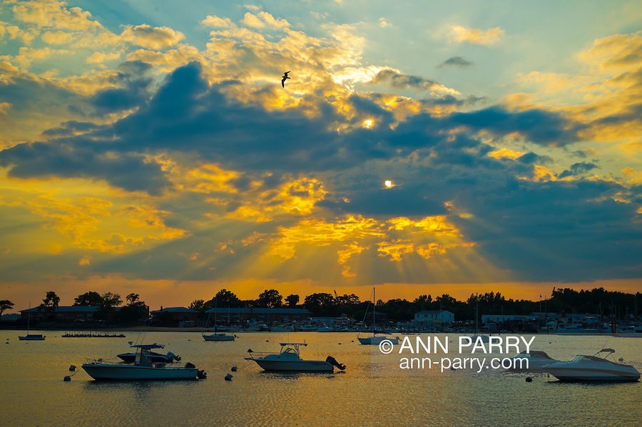 Port Washington, New York, U.S. - July 11, 2014 - Golden sunset comes to Manhasset Bay with boats anchored, in the North Shore village on Long Island Gold Coast.