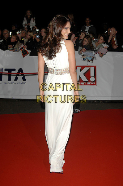 KELLY BROOK.National Television Awards 2007.Royal Albert Hall.31st October 2007 London, England.full length white dress.CAP/PL.©Phil Loftus/Capital Pictures