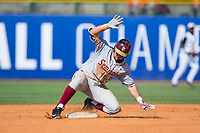 Cal Raleigh (35) of the Florida State Seminoles slides safely into second base during the game against the Louisville Cardinals in Game Eleven of the 2017 ACC Baseball Championship at Louisville Slugger Field on May 26, 2017 in Louisville, Kentucky.  The Seminoles defeated the Cardinals 6-2 to advance to the semi-finals.  (Brian Westerholt/Four Seam Images)