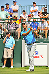 30 August 2009: Fredrik Jacobson of Sweden tees off on the 1st tee in the final round of The Barclays PGA Playoffs at Liberty National Golf Course in Jersey City, New Jersey.