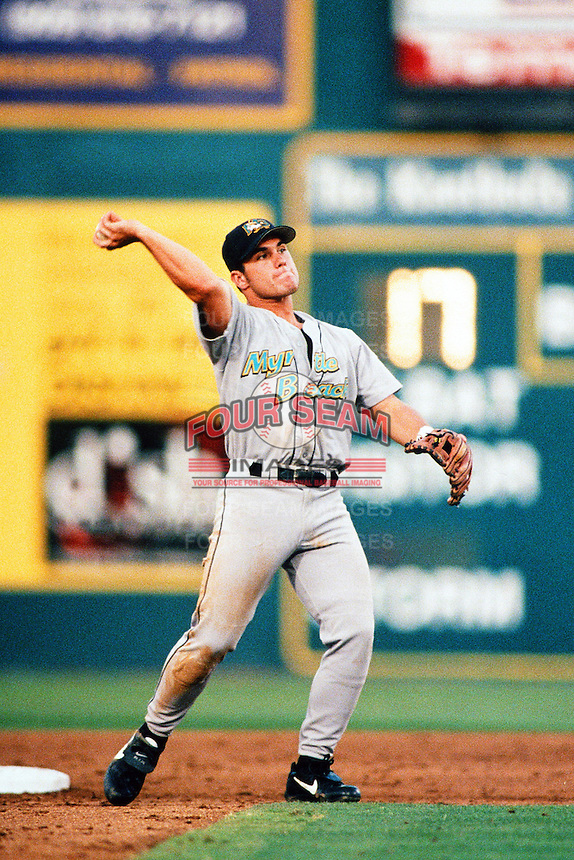 Marcus Giles of the Myrtle Beach Pelicans during the California League / Carolina League All Star Game at The Diamond circa 1999 in Lake Elsinore, California. (Larry Goren/Four Seam Images)