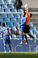 07.04.2012 SPAIN -  La Liga matchday 32th  match played between Getafe vs Sporting at Coliseum Alfonso Perez stadium (2-0). Picture show Juan Pablo Colinas Ferreras and Nicolas Ladislao MIKU (Forward of Getafe)
