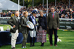 Stamford, Lincolnshire, United Kingdom, 8th September 2019, Owners Jonathan and Jane Clarke receive the Land Rover Perpetual Trophy from HRH Countess of Wessex during the prize giving after winning the 2019 Land Rover Burghley Horse Trials, Credit: Jonathan Clarke/JPC Images