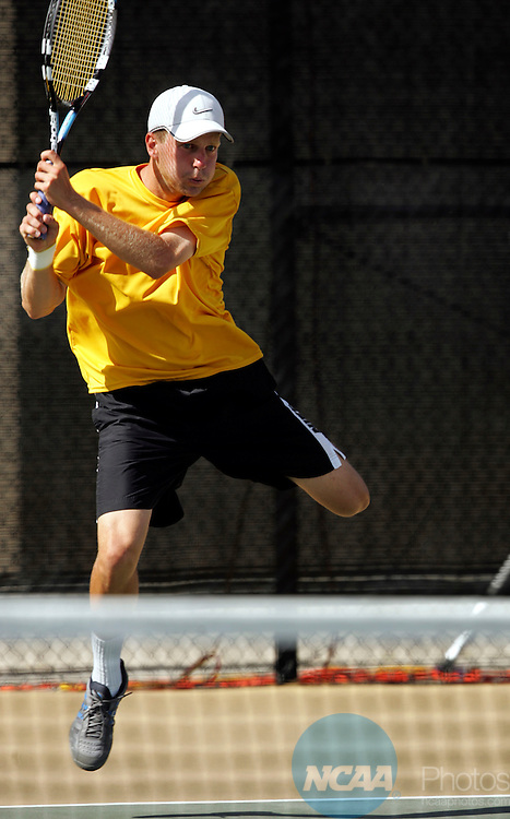 23 MAY 2005:  Matt Seeberger of UC Santa Cruz hits a backhand against Kalamazoo College during the Division III Men's Tennis Championship held at the East Tennis Courts on the University of California-Santa Cruz campus in Santa Cruz, CA.  Matt Brunner and Matt Seeberger defeated Michael Malvits and Julian Seelan 6-2, 3-6, 7-6 for the doubles national title.  Jamie Schwaberow/NCAA Photos