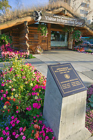 Anchorage Convention and Visitor's Bureau log cabin visitor's center, downtown Anchorage, Alaska