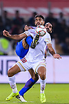 Abdulla Yusuf Helal of Bahrain (R) fights for the ball with Sandesh Jhingan of India (L) during the AFC Asian Cup UAE 2019 Group A match between India (IND) and Bahrain (BHR) at Sharjah Stadium on 14 January 2019 in Sharjah, United Arab Emirates. Photo by Marcio Rodrigo Machado / Power Sport Images