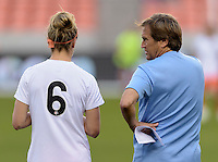 Houston, TX - Friday April 29, 2016: Houston Dash Head Coach, Randy Waldrum talking to Morgan Brian (6) prior to their game with Sky Blue FC at BBVA Compass Stadium. The Houston Dash tied Sky Blue FC 0-0.