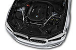 Car stock 2019 BMW 5 Series 540i Sport Line 4 Door Sedan engine high angle detail view