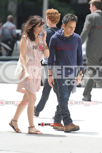 "Ben Stiller and Kristen Wiig on the set of ""The Secret Life of Walter Mitty"" in New York City. June 3, 2012. © mpi15/MediaPunch Inc."