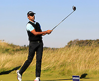 Jyoti Randhawa (IND) on the 11th tee during Round 1 of the 2015 Alfred Dunhill Links Championship at Kingsbarns in Scotland on 1/10/15.<br /> Picture: Thos Caffrey | Golffile