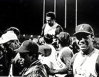 Jim Catfish Hunter is carried off the field by teammates after pitching a perfect game against the Twins. (copyright 1968.Ron Riesterer/Oakland Tribune)