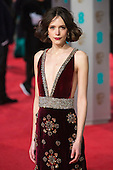 London, UK. 14 February 2016. Actress Stacy Martin. Red carpet arrivals for the 69th EE British Academy Film Awards, BAFTAs, at the Royal Opera House. © Vibrant Pictures/Alamy Live News