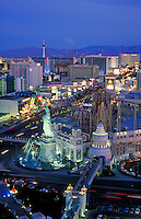 "overview of Las Vegas Blvd. South showing casinos and ""The Strip"". Las Vegas Nevada USA."